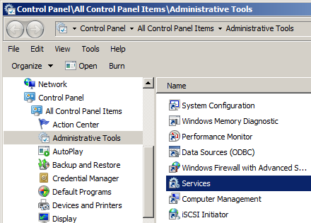 screenshot of Administrative Tools window with Services selected