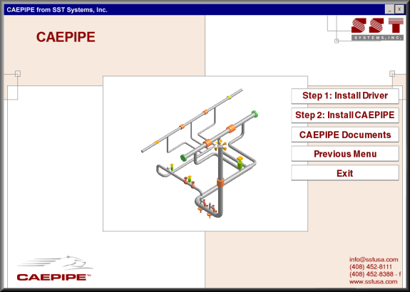 CAEPIPE installation menu