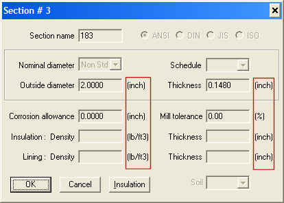 caepipe section dialog box showing data in All English format