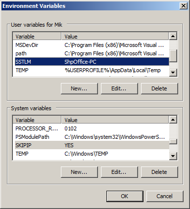 caepipe sstlm troubleshooting windows 7 environment variables window with SSTLM variable displayed