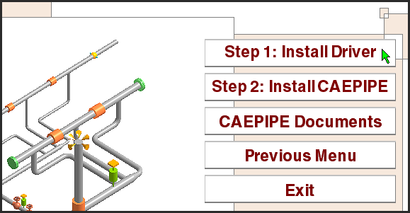 CAEPIPE installation menu step 1