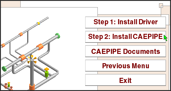 CAEPIPE installation menu step 2