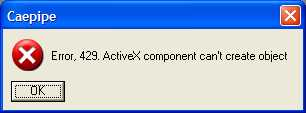 sstlm error message stating ActiveX component can't create object