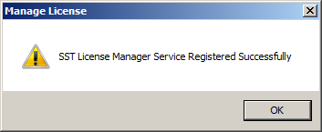 sstlm's manage license confirmation window stating sst license manager service registered successfully
