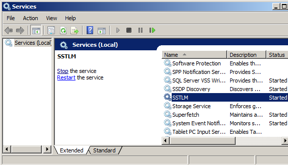 screenshot of Services window with SSTLM service selected