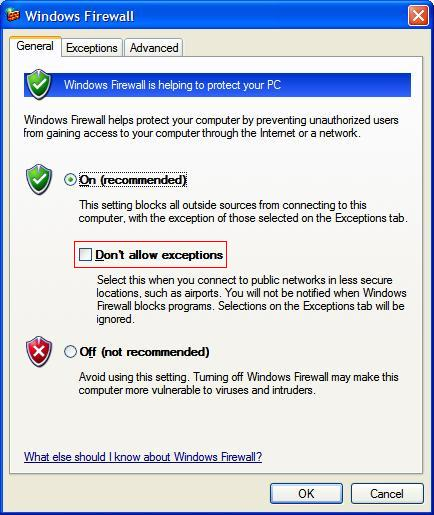 sst installtion for sstlm windows firewall dialog general tab screen shot
