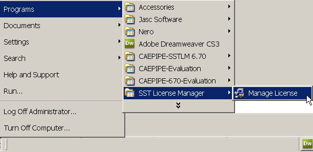 Open SST License Manger from Start menu