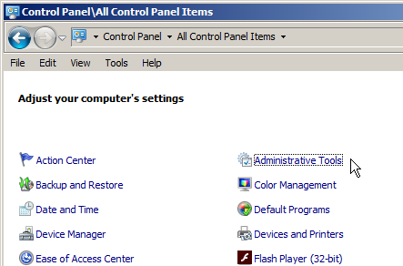 screenshot of windows control panel with Administrative Tools selected