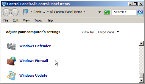 windows control panel showing large icons