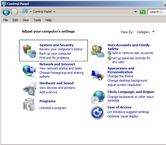 troubleshooting environment variable windows control panel with system icon selected